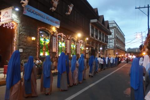 The procession lasts for almost 4 hours!