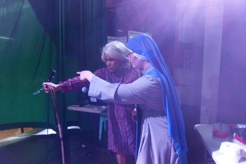 SSVM sister assisting in the comedy performance of our seminarians